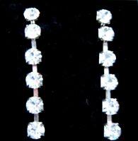 "2"" 5.5cm extra Very long silver tone diamante sparkling Bling Dangling Earrings"