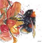 original painting 30 x 30 cm 408LM art samovar modern Watercolor animal bee