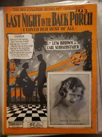 Vintage Sheet Music 1923 Last Night on the Back Porch I Loved Her Best of All
