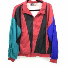 Vintage Long Street Windbreaker Missy Size Large? Color Block Shiny Red Green