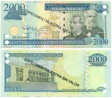 DOMINICAN REPUBLIC NOTE 2000 PESOS 20009 SPECIMEN P 181s2 UNC