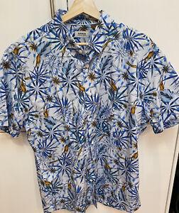 Marcs - BNWT Men's 100% Cotton Shirt Blue Print Tropical Italian Fabric Size XXL