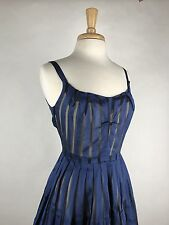 Saucy! Vtg 50s Sheer Striped Party Cocktail Dress Full Skirt S