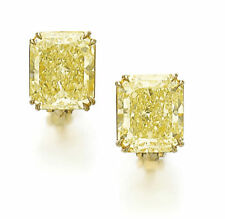 Stud Earring Solid 925 Sterling Silver Yellow Radiant Cut Jewelry Cz Women Gift