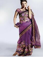Purple Net Saree