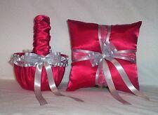 RED SATIN / SILVER TRIM FLOWER GIRL BASKET & RING BEARER PILLOW  #2