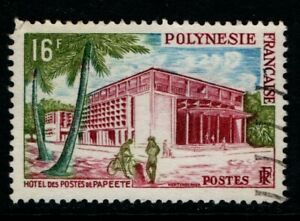 French Polynesia 1958 16c Papeete Post Office SG10 Used