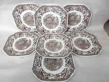 "7 Wedgwood Avon Cottage - Brown Square Salad Plates, 8"", England, some crazing"