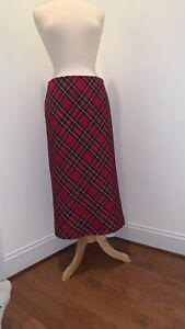 FREE SHIP Casual Corner size 10P Petite red long maxi skirt Plaid Christmas 10