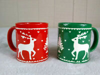 Vintage 1985 Hallmark Reindeer Christmas Mugs Set of 2 Ceramic Japan Red Green