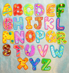 Boys Girls Alphabet Letters Embroidered Motif Fabric Iron On Patch Childrens