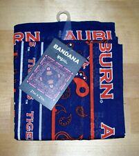 "Auburn University AU Tigers 21"" x 21"" Cotton Bandana Paisley Blue Orange"