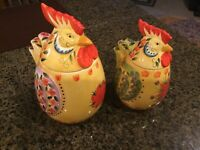 Dario Farrucci Chicken Canisters Floral Pattern Yellow Design