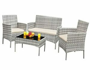 GS-4RCS4BG 4 Pieces Patio Outdoor Rattan Furniture Set Gray and Beige