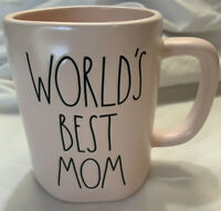 "New RAE DUNN Artisan Collection LL ""WORLD'S BEST MOM"" Pink Mug By Magenta"