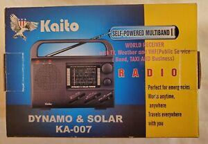 KAITO KA-007 Solar Crank AM/FM/SW/TV/Weather Radio w/ Box