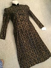 NWT Vtg 80s/90s  8/10 Black/Gold Dress Modest Church Special Occasion Mandarin
