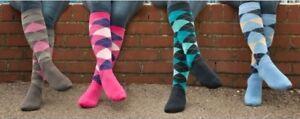 Ladies knee High Horse Riding Cotton Rich Socks ARGYLE DIAMOND Riding Socks uk