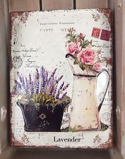 Large Metal Wall Plaque Shabby French Vintage Chic Lavender Roses Convex Gift