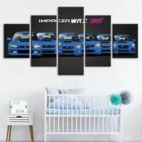 Blue WRX Car Evolution 5 Pc Canvas Wall Art Print Picture Poster Home Decor