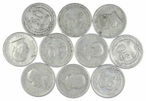 Lot of 10 El Salvador 1953 50 Centavos Silver Coin Lot Rare one Year Issue *453