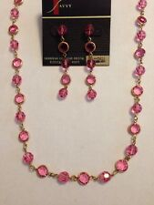 Swarovski Pink Crystal & Bezel Set Earrings & Necklace - BEAUTIFUL!