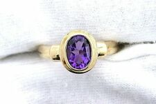 10Kt REAL Yellow Gold Rich Color Brazilian Oval Amethyst Gemstone Ladies Ring