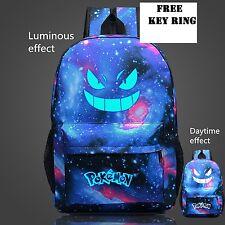 Back Pack Pokemon Gengar Face Luminous School Games Bag Blue sport backpack