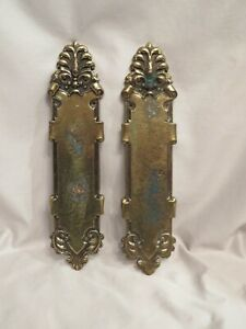 """Vintage Brass Ornate Door Push Plates """"Heavy"""" 12 inches long"""