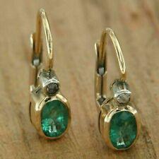 Women's 2 Ct Oval Cut Green Emerald Drop Dangle Earrings 9CT Yellow Gold Finish
