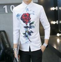 Chic Men's Printing Rose T-Shirts Slim Long Sleeve Casual Shirts Tops Nightclub