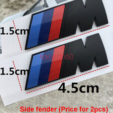 2pcs BMW M SPORT M POWER PLASTIC AND CHARCOAL SMALL 45x15mm SIDE WING BADGE