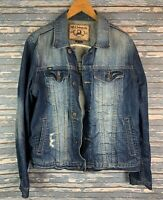 Cult Of Individuality Denim Blue Jean Jacket Distressed Faded Women's Size Large