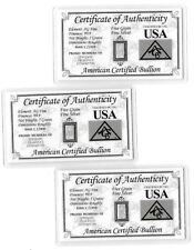 5 Grain US Silver Bar Bullion Card Collection Lot USA Great Birthday Gift Idea