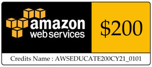 $200 AWS EC2 Lightsail  Amazon Web Services Credit Code Immediately sent