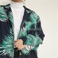 Green Black ulzzang wild leaves printed casual new hit color shirt loose Blosue