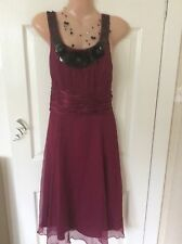 Monsoon Silk Dress With Black Sequins Size 10/ 12 Vgc Hols 19/7 To 26/7