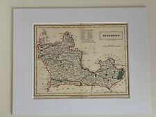 Antique Engraved Map Berkshire Sidney Hall Travelling Atlas Mounted Railways