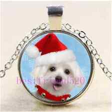 Christmas Maltese Puppy  Cabochon Glass Tibet Silver Chain Pendant Necklace