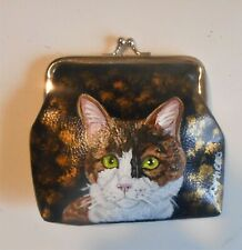 Calico Cat Hand Painted Leather Coin Purse Mini Clutch wallet Vegan