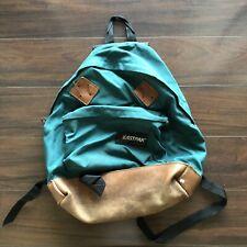 Vintage Eastpak Nylon Canvas Leather Bottom Backpack Bookbag Made In USA Green