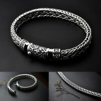 Handmade Solid 925 Sterling Silver Mens Heavy Chain DShape Clasp Buckle Bracelet