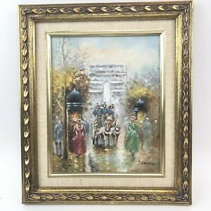 J Gaston Original Oil On Canvas Arch De Triomphe Paris Street Signed & Framed