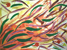 PAINTING,'SUMMER BREEZE', ABSTRACT, ACRYLIC, PAPER BOARD, FREE SHIPPING!