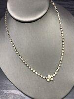 "1950's Silver Clear Simple Rhinestone Vintage  Necklace Wedding Flower Girl 16"""