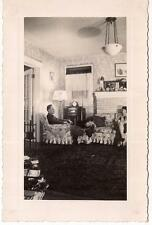 1940s House Decorated For Christmas Village Man & Woman In Living Room Photo WW2