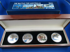 2012 NIUE $1 THE BATTLE FOR AUSTRALIA SILVER PROOF COLLECTION (4) COINS.