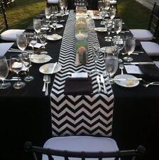 "lovemyfabric Poly Cotton Black & White Chevron Table Runner 12""X72"" Inch"