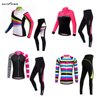 Women Cycling Jersey Trousers Set Long Sleeve Shirt Padded Pants Suit Ladies