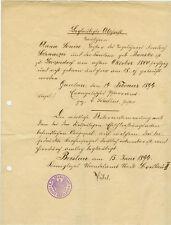 ANTIK Alte Handschrift Urkunde Beglaubigte Abschrift Taufschein 1894 Breslau